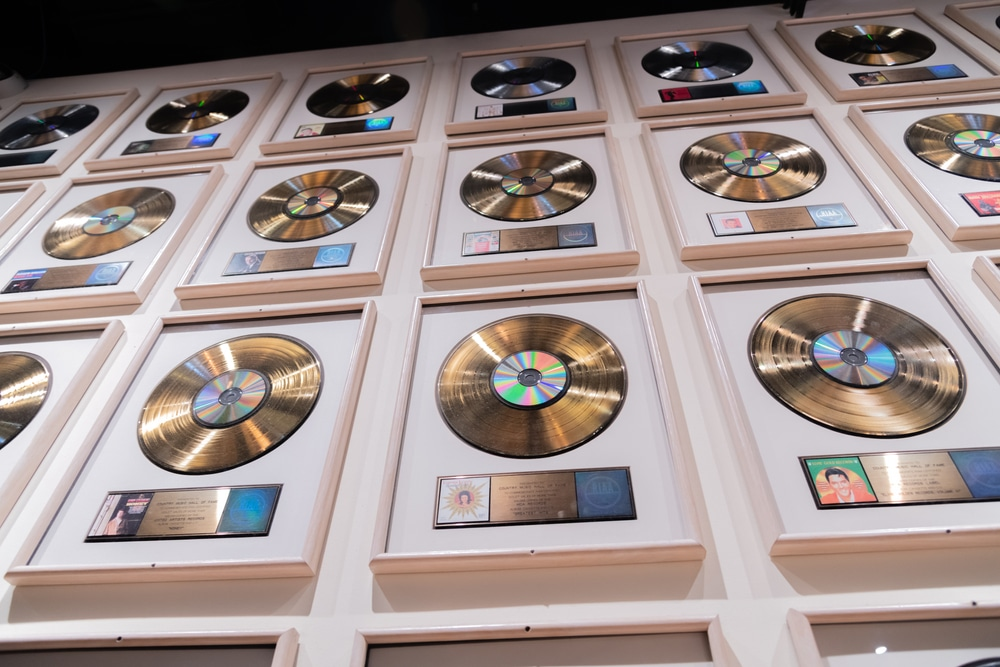 Records on display in the country music hall of fame in Nashville